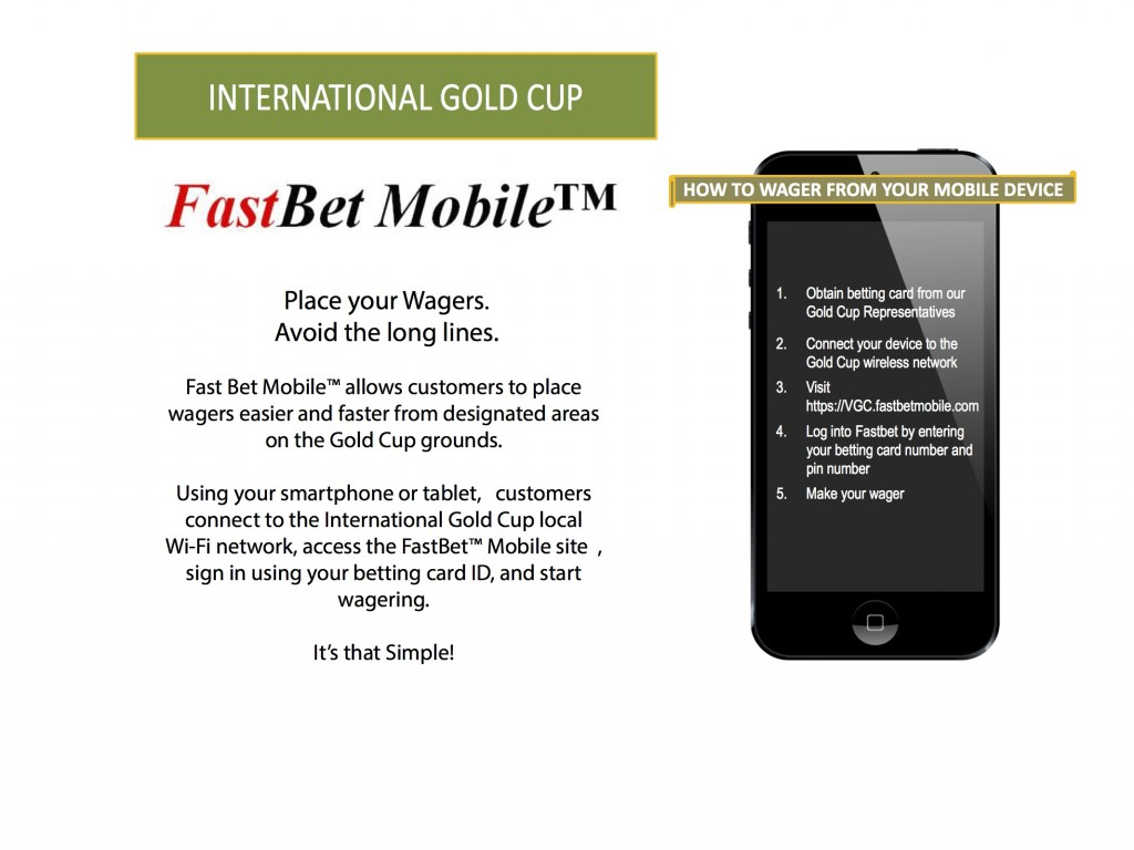 Gold Cup Wagering Instructions