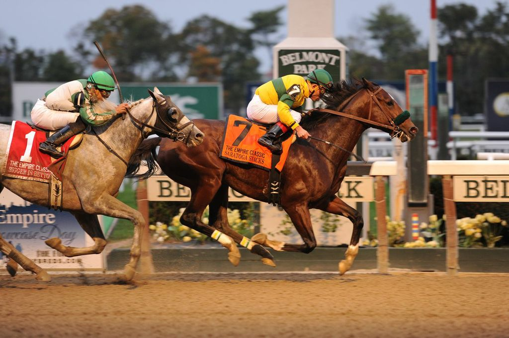 Saratoga Snacks dominated the Empire Classic Handicap at Belmont on Saturday. Photo Courtesy Adam Conglianese.