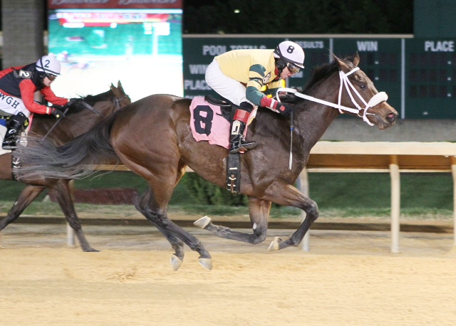 Virginia exacta! Final Bow, owned by Atkins Construction Group and trained by Susan Cooney, won a maiden special weight at Charles Town on November 2. Pepper Bay, second, is owned and trained by Jimmy Day.