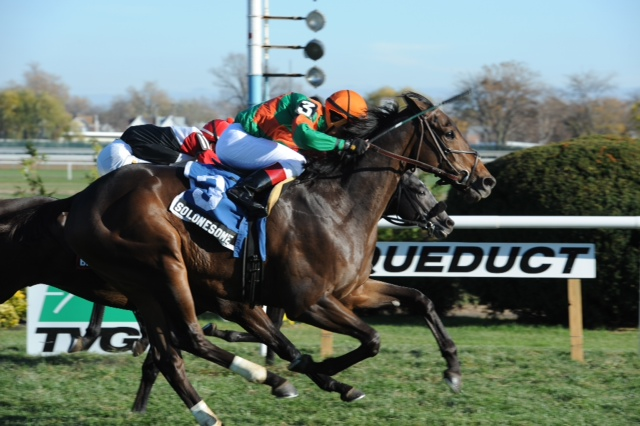 Virginia-owned So Lonesome dominated in the Virgo Libra Stakes at Aqueduct on Saturday.
