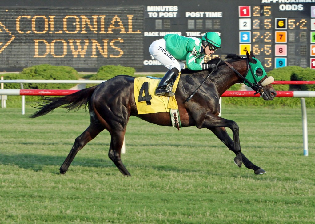 Tubal, winning at Colonial Downs this summer. Photo by Coady Photography.