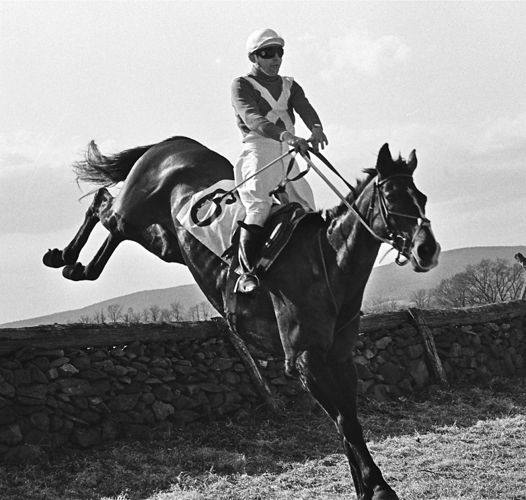 Piedmont Point-to-point 1970: Dr. Rogers riding his King of Spades in the Rokeby Bowl. Photo courtesy Douglas Lees.