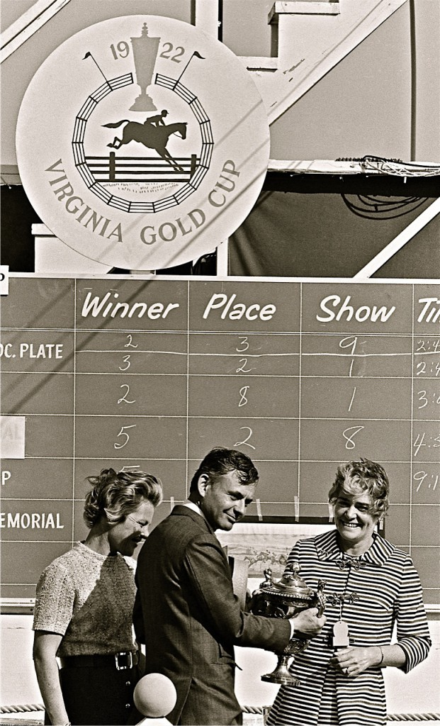 King of Spades won the 1972 Virginia Gold Cup for Dr. Rogers. Left to right: Mrs. J.H.Tyler Wilson, Dr. Rogers, Mrs. Harcourt Lees. Photo courtesy Douglas Lees.