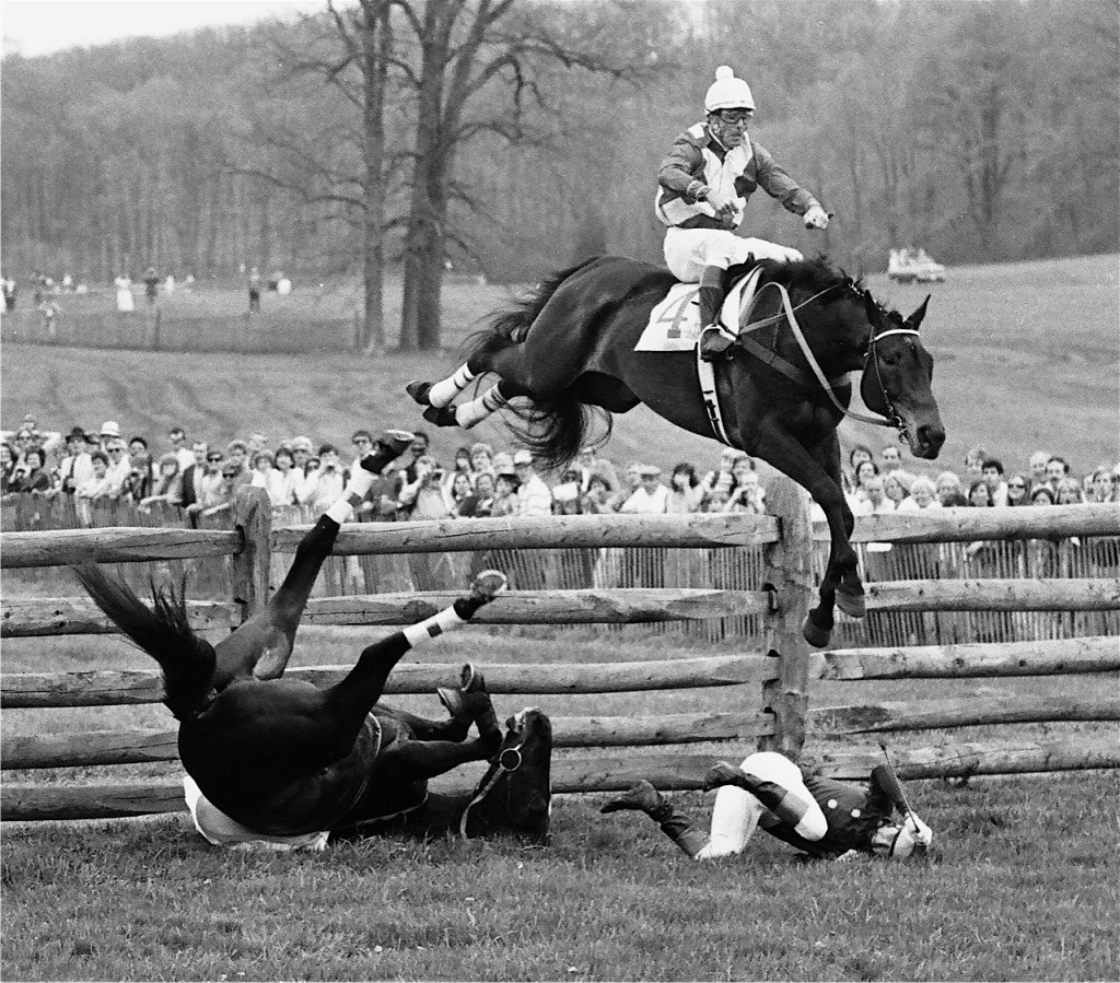 1986 Maryland Maryland Hunt Cup: Dr. Joseph Rogers' Private Gary (Charlie Fenwick, up), 3rd in race, jumps over The Guineau Man. The horse was not hurt. Photo courtesy Douglas Lees.