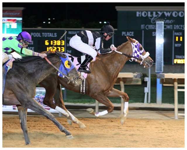 Flattering Bea winning the Sugar Maple Stakes. Photo courtesy Coady Photography.