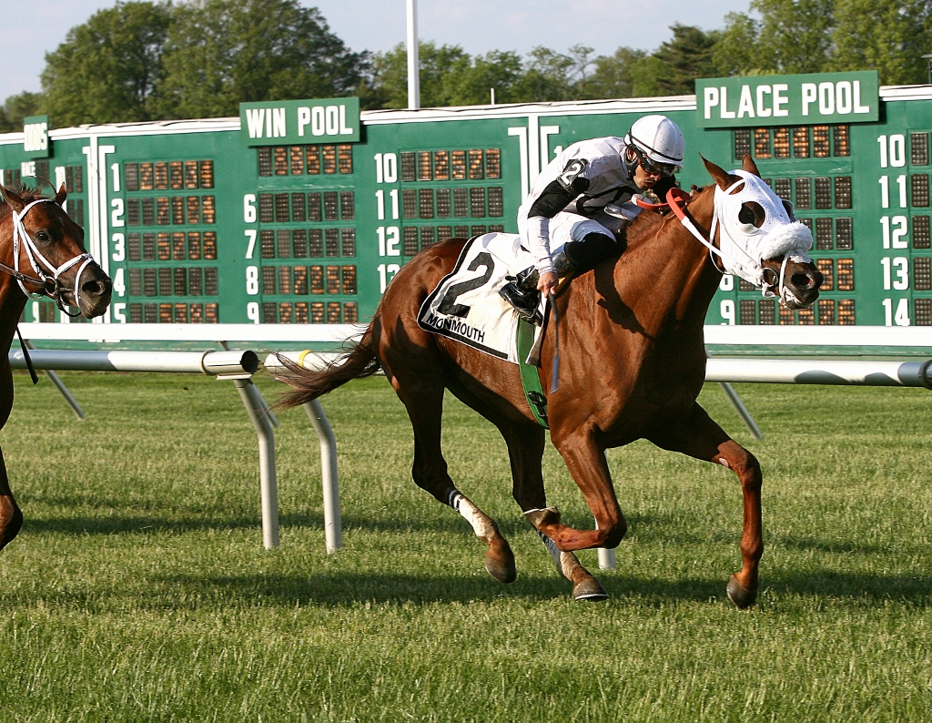 Virginia-bred Hard Enough winning the Grade III Red Bank S. Photo courtesy Equi-Photo.