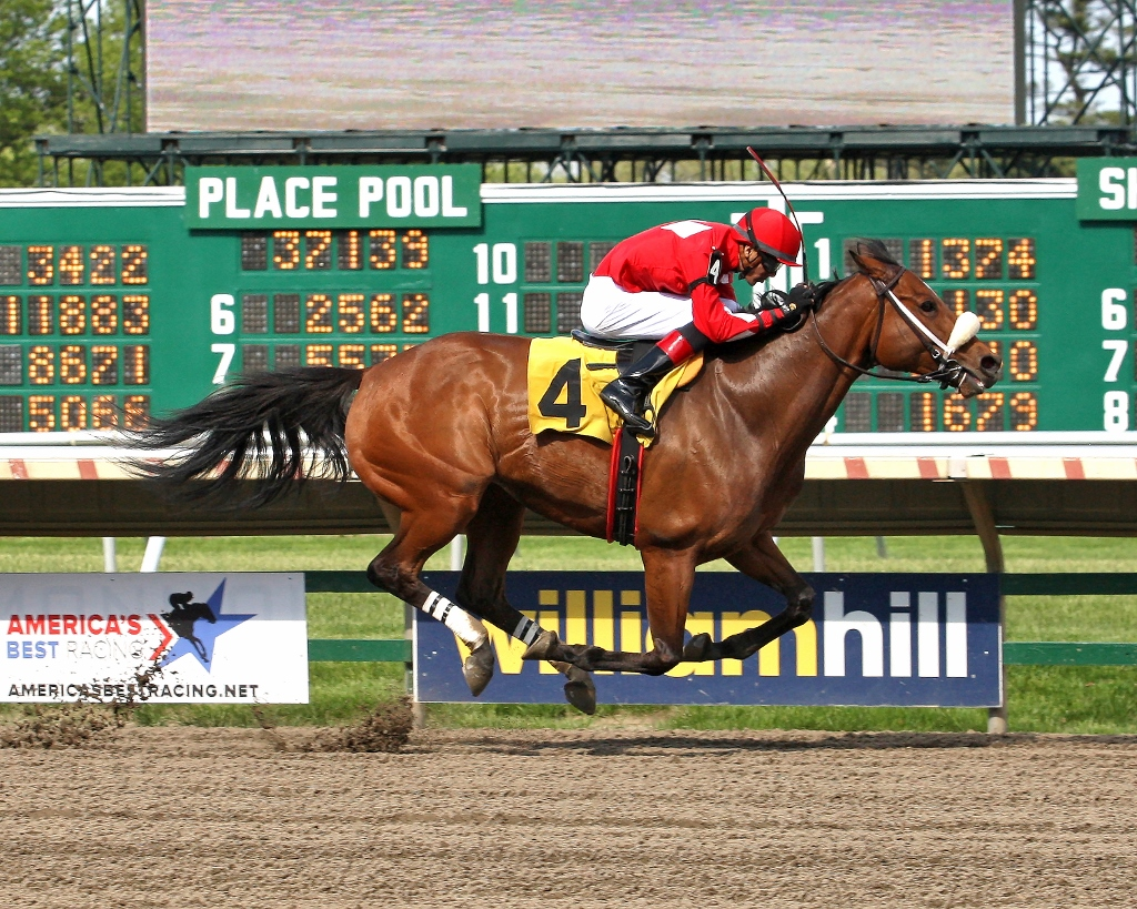 Wardelle winning a Monmouth allowance May 17, 2013. Photo courtesy Equi-Photo.