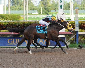 General A Rod winning the Gulfstream Park Derby. Photo courtesy Leslie Martin.