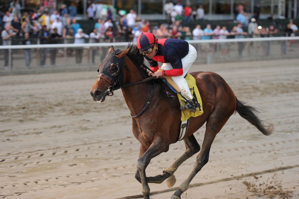 Tonalist winning the Grade II Peter Pan by 4 lengths. Photo courtesy Chelsea Durand.