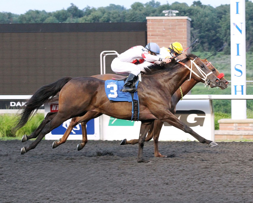 Sally Oh Sally, owned by members Mark and Cindy Stewart, won her second back-to-back race at Presque Isle in July. Photo courtesy Coady Photography.