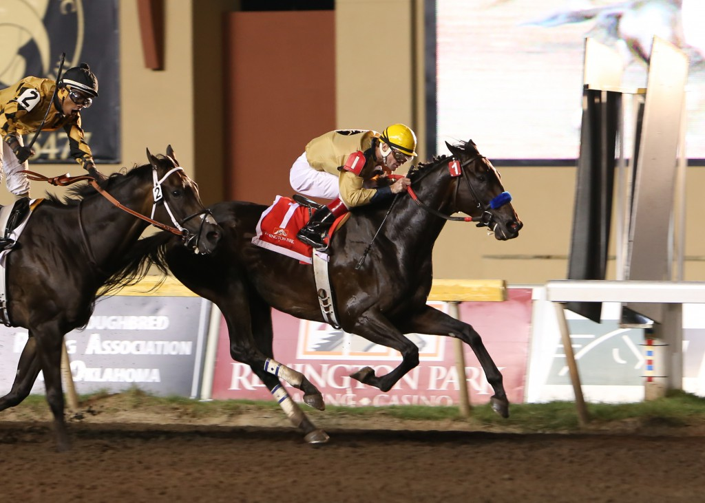 Ned Evans-bred Code West won the Governor's Stake at Remington Park on August 16. Photo Courtesy Dustin Orona Photography.