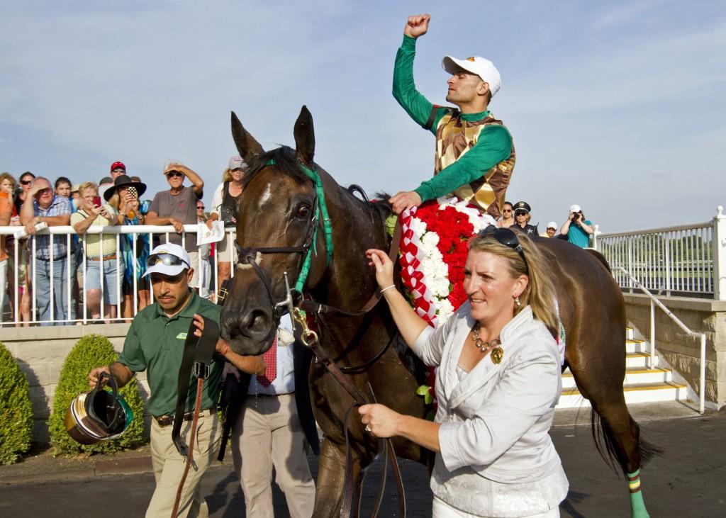 Virginia-owned Hardest Core wins the Grade I Arlington Million. Photo courtesy DRF.