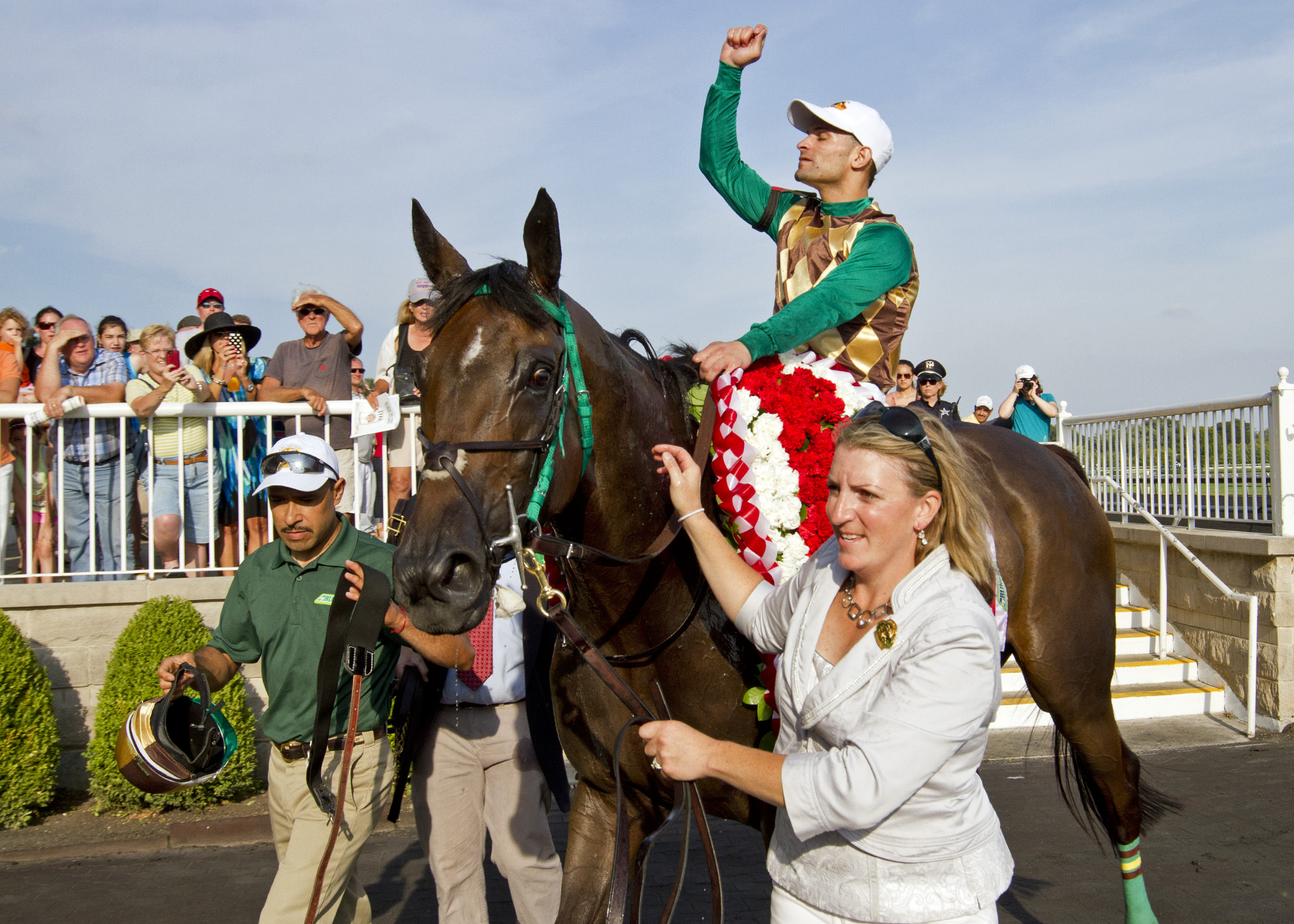 Virginia-owned Hardest Core wins the Grade I Arlington Million. Photo courtesy DRF.