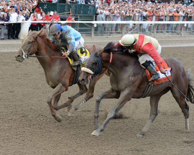 Virginia-owned V.E. Day winning over Virginia-raised Wicked Strong in the Grade I Travers. Photo courtesy Chelsea Durand.