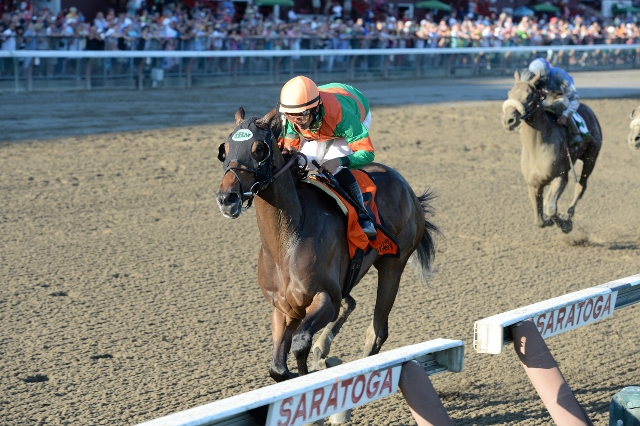 So Lonesome winning the Albany for Charlottesville owners Ed and Pat Schuler. Photo courtesy Adam Coglianese.