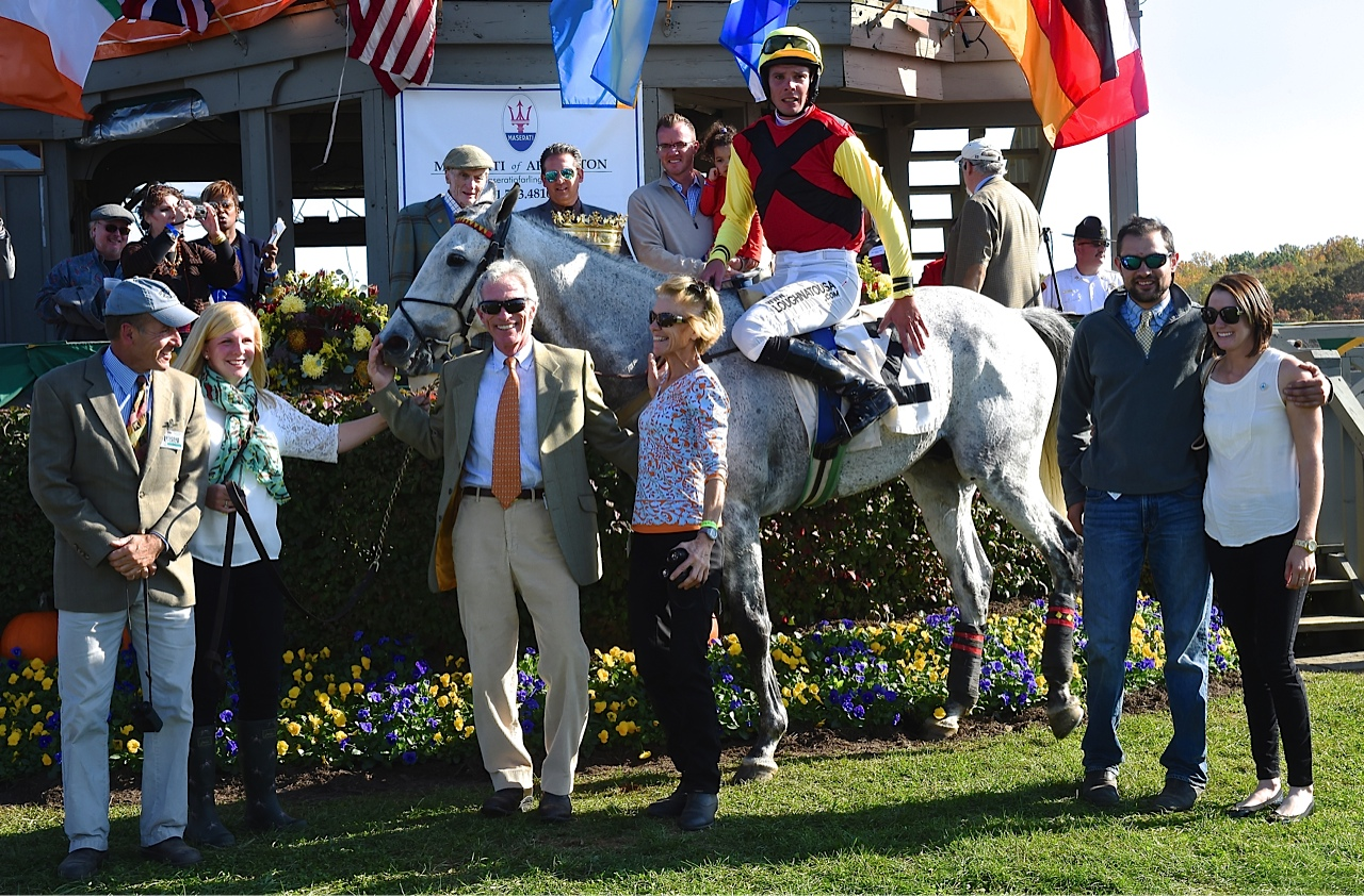 Grinding Speed wins International gold Cup for owners Michael Wharton and Alicia Murphy and trainer and rider Mark Beecher. Photo courtesy Douglas Lees.