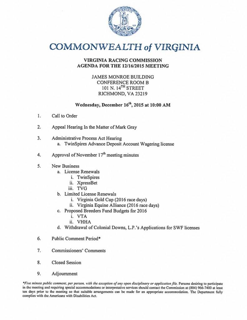 Agenda-December 16