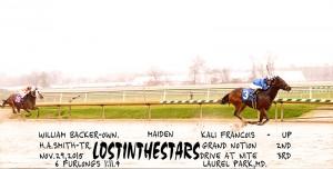 Lostinthestars, a 3 year old Henrythenavigator gelding, went gate to wire in a 6 furlong sprint November 29th at Laurel.