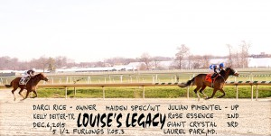 Louise's Legacy was dominant in a $40,000 maiden special weight score December 6th at Laurel.