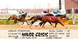 Minor Crisis scores a one-half length win over Bob's My Uncle December 11 at Laurel.