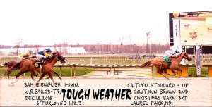 Tough Weather wins her 3rd career race from 16 starts December 18 at Laurel. Photo courtesy of Jim McCue.