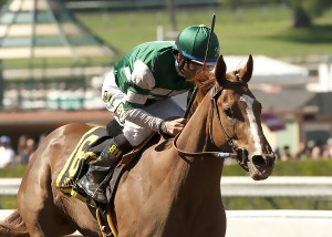 Hronis Racing's Stellar Wind and jockey Victor Espinoza win the Grade I $400,000 Santa Anita Oaks Saturday, April 4, 2015 at Santa Anita Park, Arcadia, CA.   ©Benoit Photo