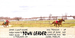 Town Leader wins in convincing fashion in a six furlong sprint at Laurel March 18