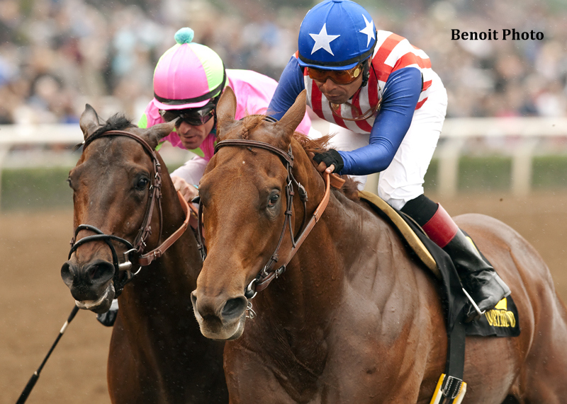 Kaleem Shah's Dortmund and jockey Martin Garcia, right, hold off Firing Line and jockey Gary Stevens to win the Grade III $150,000 Robert B. Lewis Stakes  February 7, 2015 at Santa Anita Park in Arcadia, CA.