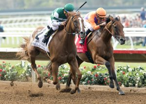 Hronis Racing's Stellar Wind and jockey Victor Espinoza, left, overpower Beholder (Gary Stevens), right, to win the Grade I, $300,000 Clement L. Hirsch Stakes, Saturday, July 30, 2016 at Del Mar Thoroughbred Club, Del Mar CA. © BENOIT PHOTO