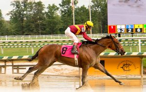 Porte Cochere won her second straight race and second straight bonus, courtesy of the new VTA/HBPA incentive program. Photo by Jim McCue.