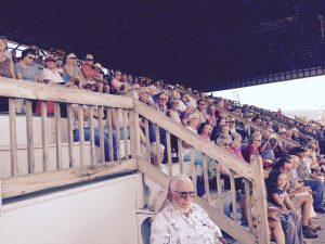 A filled grandstand greeted trainers, drivers and horses when County Fair racing kicked off in Woodstock on Wednesday.