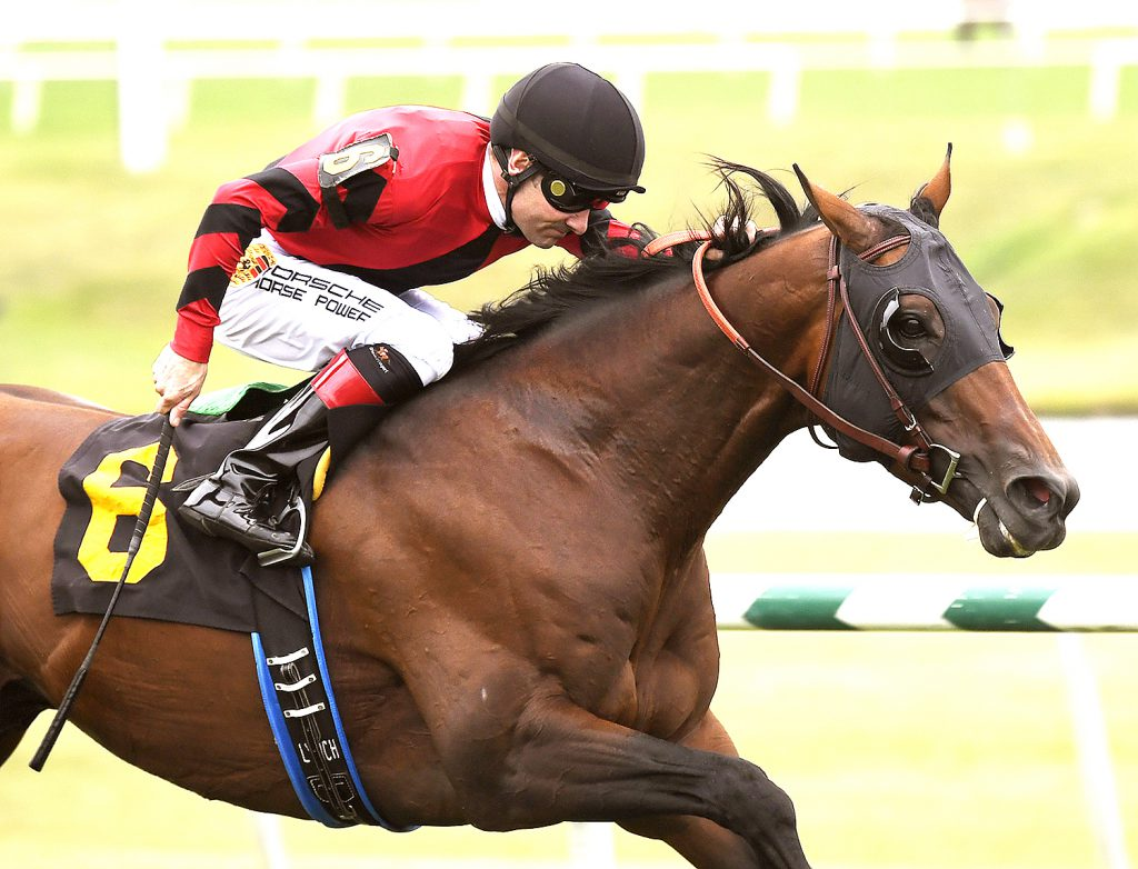 Moon River, owned by Davis Ross, was victorious in the Punch Line Stakes Saturday at Laurel. Photo by Jim McCue.