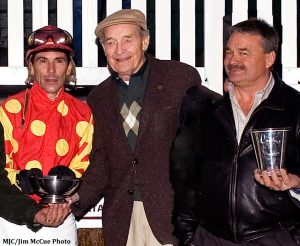 Jockey Mario Pino with Bert Allen & his son, Ferris Allen