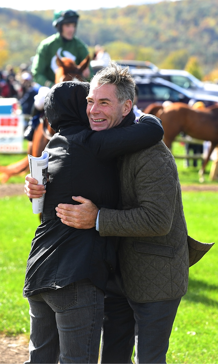 Trainer Neil Morris, who won 4 races at the International Gold Cup card, is shown here after a victory by Zanclus. Photo by Douglas Lees.