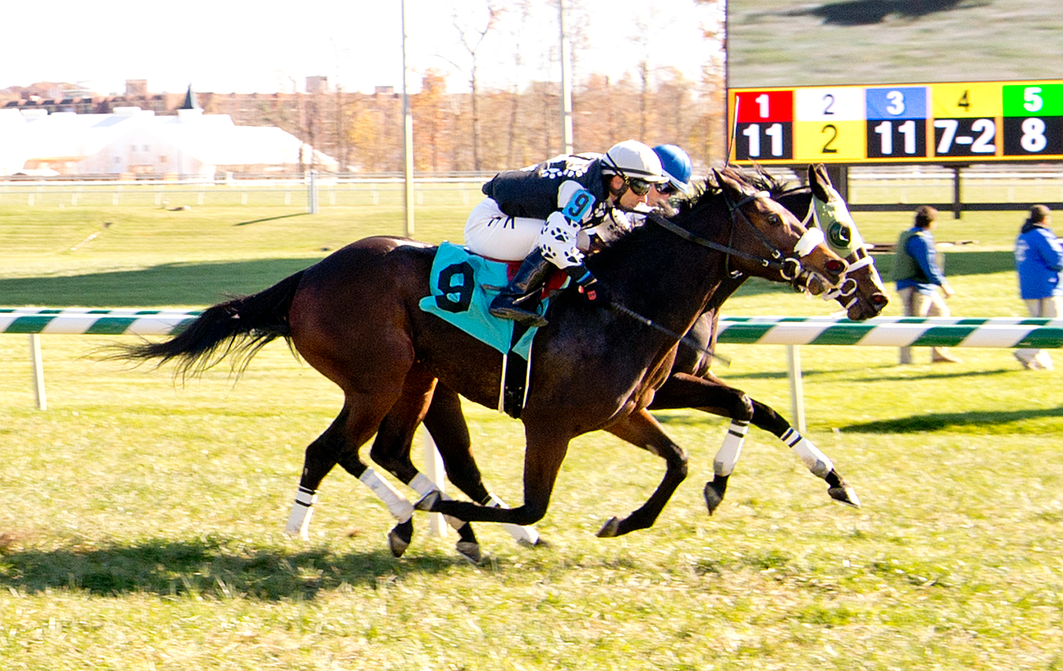My Vixen won gate to wire --- barely --- November 13th at Laurel Park. Photo courtesy of Jim McCue.