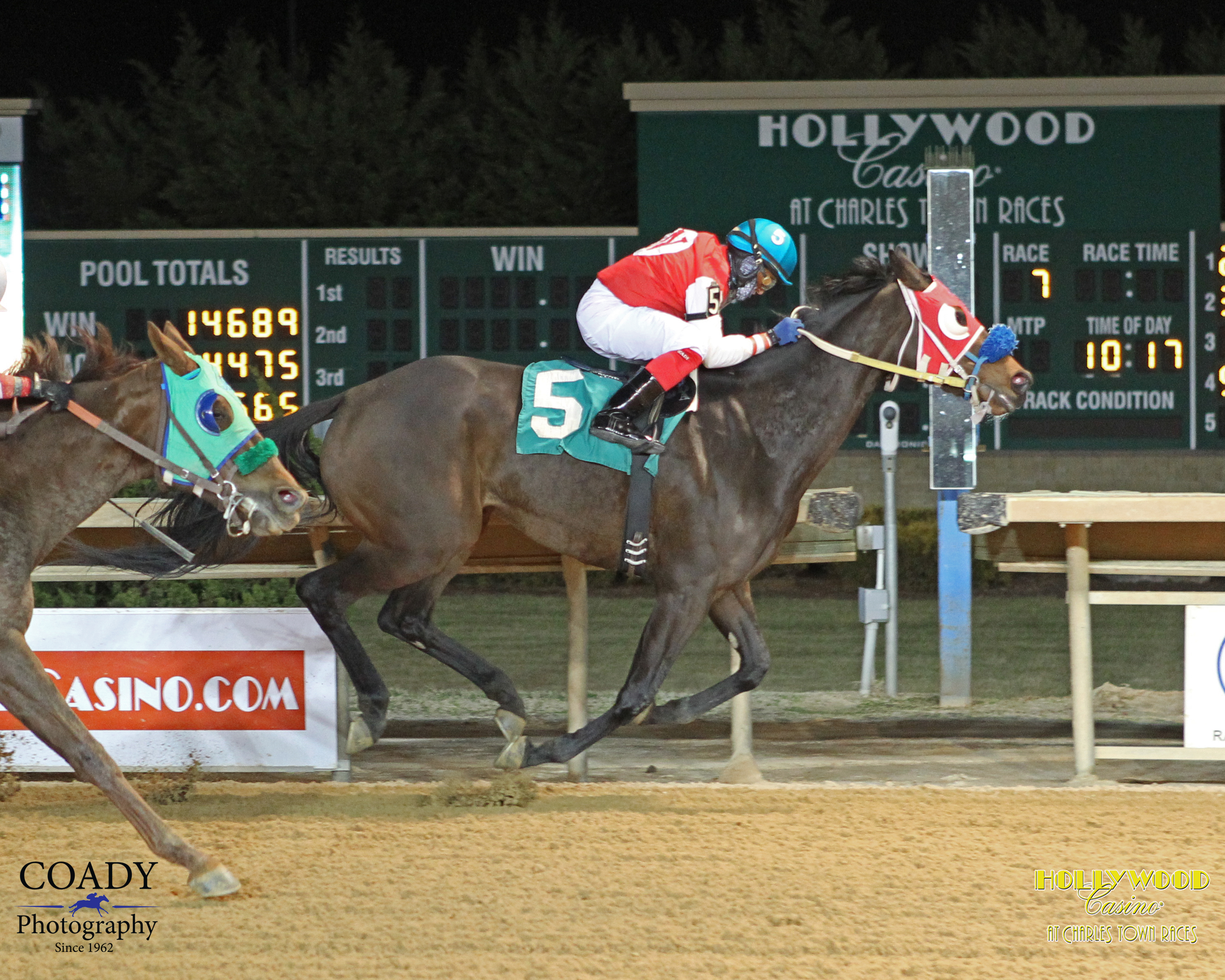 Four year old filly Start Winning has won four of her last 7 at Charles Town including this Jan. 27 triumph. Photo courtesy of Coady Photography.